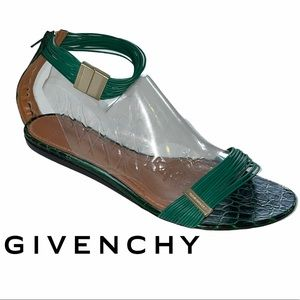 Givenchy green croc leather ankle strap sandals 41